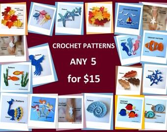 Crochet Patterns - Pick ANY 5
