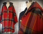 Red Plaid Reversible Hooded Cape (M)