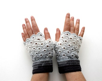 Handmade Fingerless Crochet Gloves / Gift Guide / Special Desing / Size M / Black Gray / FRONT PAGE