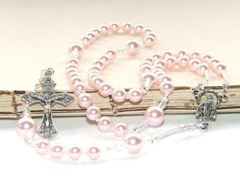 Catholic Baptism Rosary Prayer Beads, Pink Pearls for Girls / First Communion Rosary