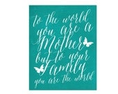 Mothers Day Gift Typography Art Poster  Family Mom Butterfly Teal Turquoise Blue Digital Art Print Calligraphy Inspired Inspirational Mother