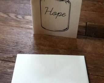 Hope mason jar blank note cards