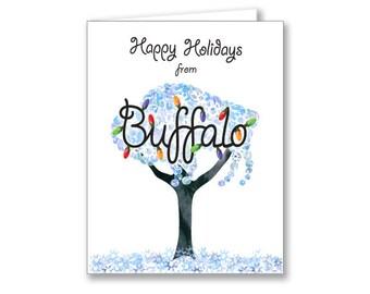 Holiday Card - Buffalo Winter Tree with Lights