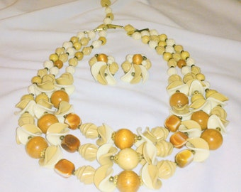 Vintage West Germany Multi Strand Necklace and Earring Demi