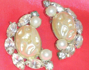 Vintage Faux Pearl and Rhinestone Crescent Earrings