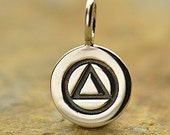 Sterling Silver Alcoholics Anonymous Charm - Twelve Step. Show your support, Spiritual, Tiny Dangle Charm, Support Charm