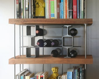 open stacks steel wine rack - from salvaged and recycled content steel - modern industrial minimalist dining
