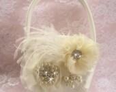 Flower Girl Basket, Flower Girl Basket  Elegant and Classic Ivory or white 3D