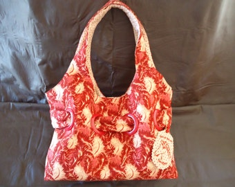 Red and Beige Grommet-Accented Purse by My Spirit Horse Designs