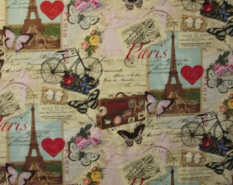 Vintage Paris Eiffel Tower Bicycle Map Butterfly Cotton Fabric Fat Quarter Or Custom Listing