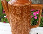 Vintage Kitsch Nevco Brown Glazed Hot Pot