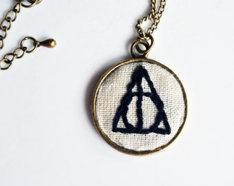 Harry Potter Bronze Circle Pendant. Hand Embroidered Deathly Hallows Necklace ONLY
