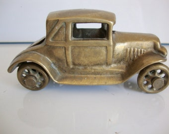 Vintage  Brass Car With Rumble Seat, 1930's Car,  Ford Car V8