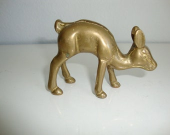 Brass Figurine,  Animal, Brass Deer, Fawn Miniature, Brass Statue