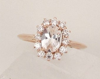 White Sapphire Rose Gold Engagement Ring, Cluster Diamond Ring