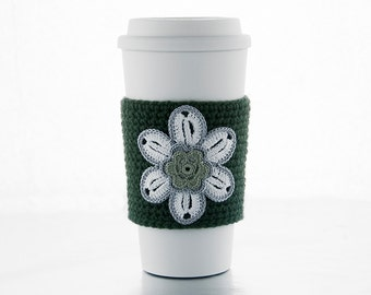 Hand crocheted coffee cosy cozy, winter white flower, sage center, trimmed in gray, forest green sleeve