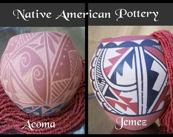 "SALE NATIVE AMERICAN Pottery - Traditional Southwest Decor Handmade Bowl, Vase, Coil Clay Pots - Choice Jemez 5"" or Acoma 3"" Pueblos Antique"