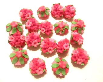10 Fimo Polymer Clay Red Pink Flower Fimo Beads Bouquet  25mm