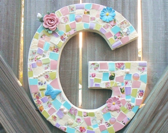 Mosaic  Letter, Initial Made to Order Weddings,Nursery Decor, Home Decor, Wall Art Broken China