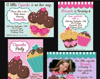 Cupcake party digital PRINTABLE INVITATION- Originals design elements