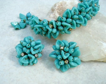 Vintage Glass Bead Bracelet Earrings Set Turquoise Blue Crystal Rhinestone Hand Wired Haskell Style