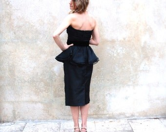 1980's Victor Costa black bombshell strapless evening dress- 80s organza designer party dress