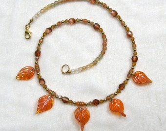 Autumn Pumpkin Orange Leaves Beaded Necklace