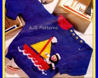 "PDF Knitting Pattern - Boat  Motif Sweater in Sizes to Fit 20"" to 26"" & Sailor Soft Toy - Instant Download"