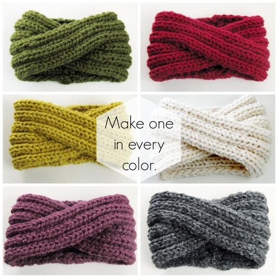 Infinity Headband Knitting Pattern - Ear Warmer Knitting Pattern - Chunky Cow...