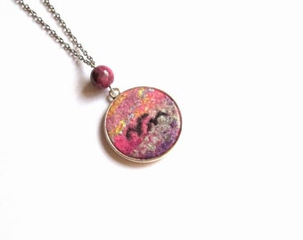 Felt Pendant Necklace Birds with rhodonite bead  ooak Valentines Day Best Friends