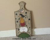 hand painted prim bread board, summer decor, watermelon, sheep, crow, pear. American flag. SCOFG