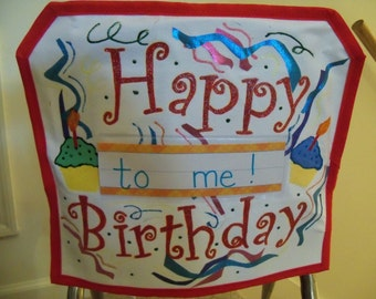 Gorgeous Happy Birthday Chair pocket with name tag