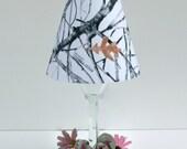 Six Champagne Wine Glass Die Cut Lamp Shade White Camo