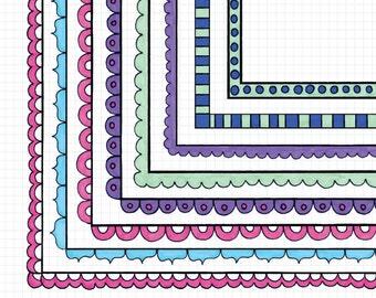 Watercolor Border Clipart Frames Doodle Borders Clip Art Instant Download Images