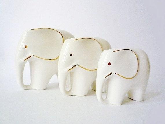 3 Vintage Porcelain Elephant Figurines