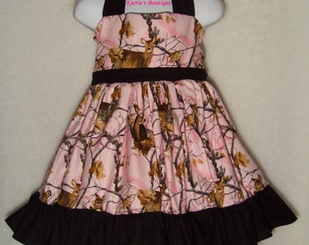 Camo Halter Dress / Pink + Black / Realtree / Deer / Flower Girl / Wedding / Pageant / Baby / Girl / Toddler / Custom Boutique Clothing