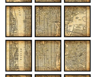 New York City Map 12 Panel New York City Manhattan Street Map Vintage Grunge