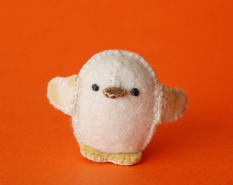 White and Yellow Small Felted Baby Chicken Toy -- Handmade Felt Pure Wool Unique Baby Chicken