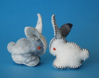 Twin Felted Bunnies Withe and Grey -- Hand Made in Canada Pure Merino Wool Handmade Felt