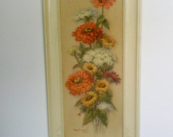 Vintage Robert Laessing Floral Lithograph Print / D.A.C.  NYC Framed Print in Faux Offwhite  Carved Wood Frame