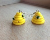 Tiny Beehive Polymer Clay Earrings / necklace / charms