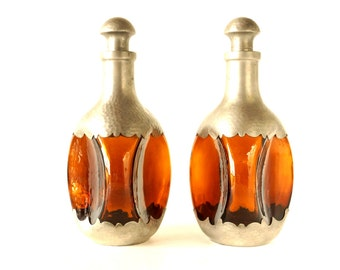 Vintage Amber and Pewter Pinched Decanters by Royal Holland Daalderop, Set of 2 (c.1930s) - Collectible Decanters