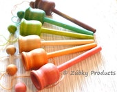 Simple Cup and Ball Toss Game by Zúbky - Solid Wood in RAINBOW Colors - Waldorf Montessori Game for Children