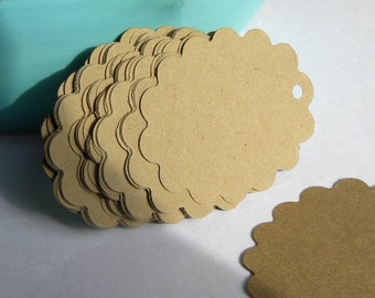 Brown paper tags. 250 Scalloped edge tags in kraft card stock -  gift tags, wedding tags, favor tags - craft supplies - paper goods