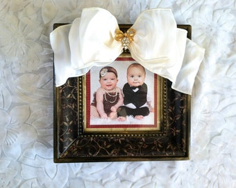 Christmas Photo Frame Holiday Bow Jewel Bling Red Gold Blk