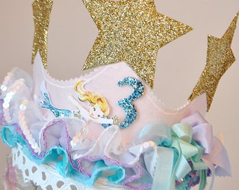 Girls Mermaid Star Birthday Crown special occasion, dress up, photo prop