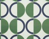 Retro Wallpaper by the Yard 70s Vintage Wallpaper - 1970s Green and Navy Blue Circle Geometric on Ivory