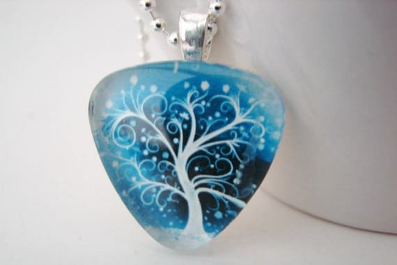 Icy Tree Triangle Pendant with Free Necklace