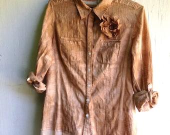 hand dyed tunic, latte dress, upcycled shirt, shabby mocha, vintage lace, boho style, gypsy style, romantic, rustic dress