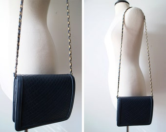 Vintage 90s Ande' MOD Navy Quilted Chain Strap Shoulder Bag Convertible to Clutch